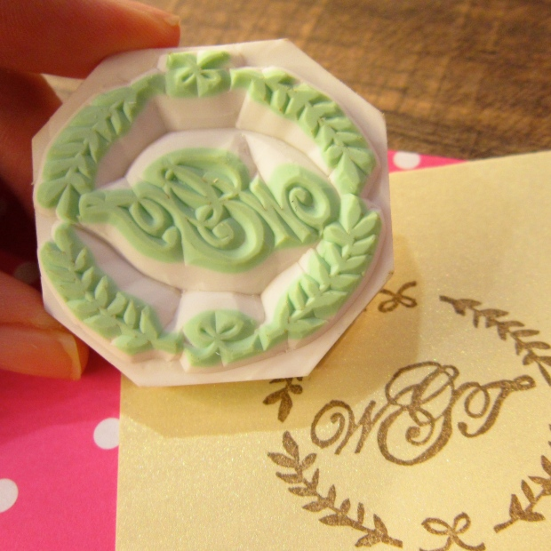 Customised Wedding Monogram in Wreath rubber stamp