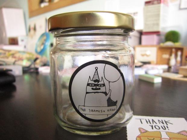 Reused glass jar from Tiramisu Hero
