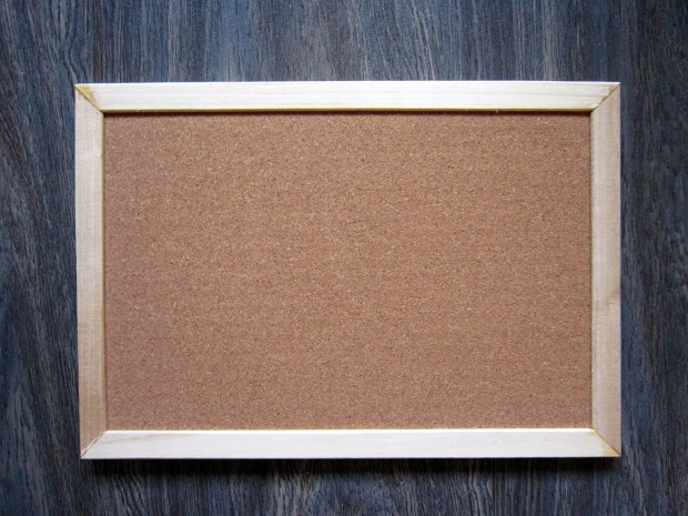 Step 1: Lay cork board on a flat surface where you can work comfortably
