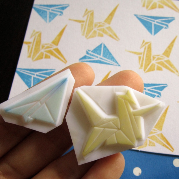Origami Crane and Plane rubber stamps
