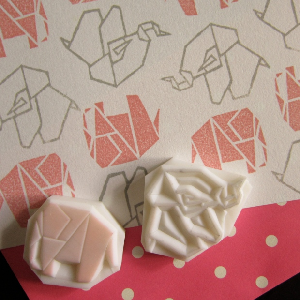 Origami elephant rubber stamps
