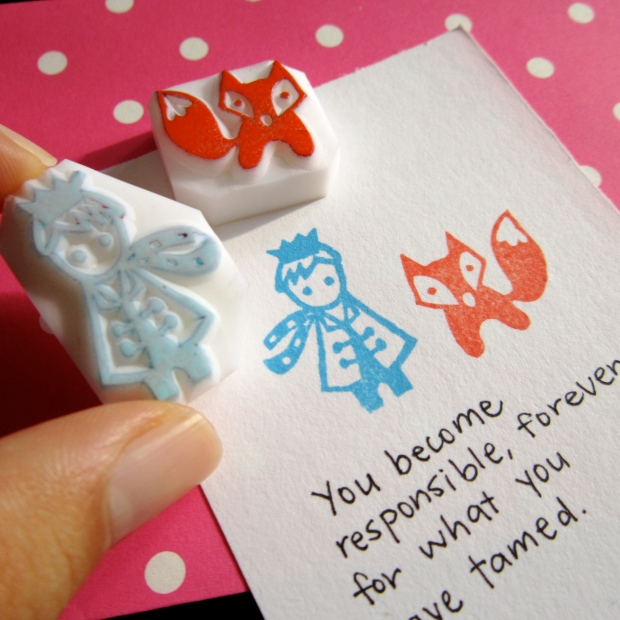 Little Prince and Fox rubber stamps
